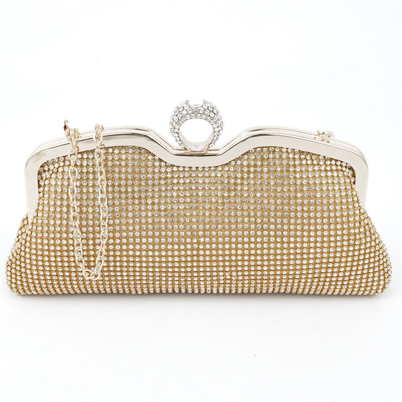 57748787f663 Fashion Finger Ring Clutch Bag Women Shining Luxury Rhinestone Wedding    Party Chic Bag Ladies Designer Long Chain Shoulder Bag-in Top-Handle Bags  from ...