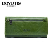DOYUTIG Brand Vintage Women's Green Genuine Leather Long Wallets High Quality Lady Money Purses Card Holder Clutches Wallet A158 bvlriga women wallet nubuck leather long purses card holder women clutches fashion wallets money purses 2017 new clutches women