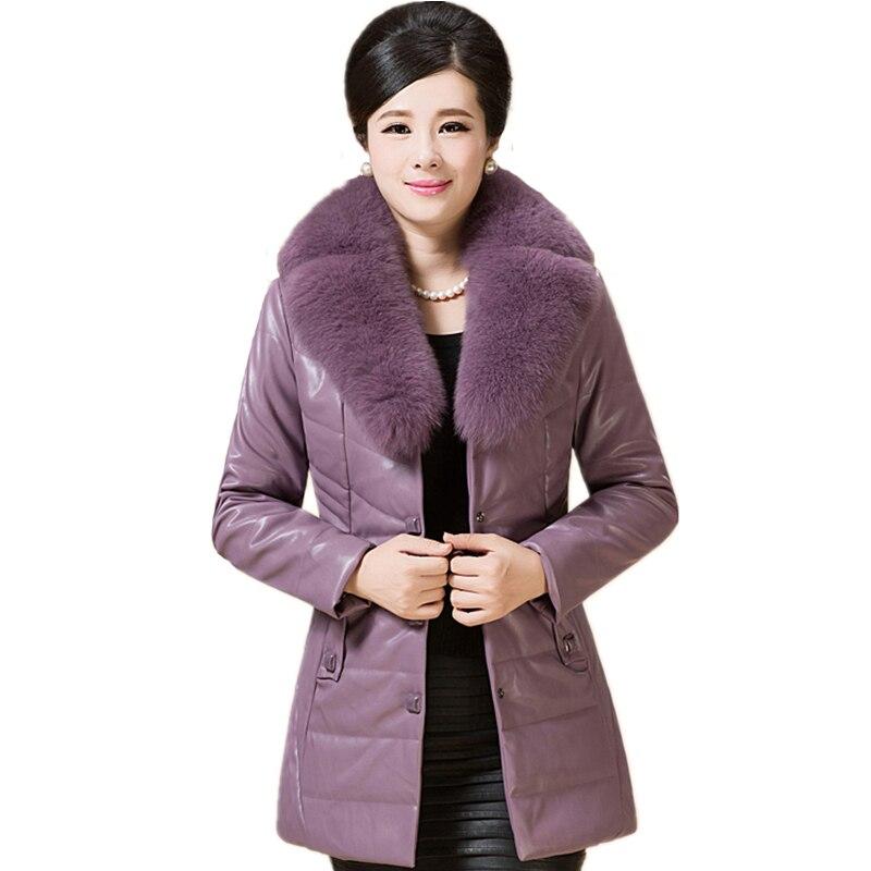 MEBOSYA 2016 Women's winter PU  jacket Thick Fur Collar Fiber Slim Female Jacket Plus Size Coats Women Winter Parka XL-6XL