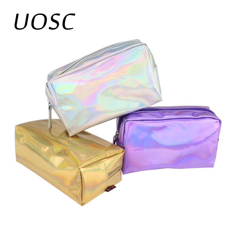 UOSC Laser Cosmetic Bag Fashion Holographic Pencil Case Cosmetic Makeup Pouch Laser Zipper Purse Bag Toiletry Cases