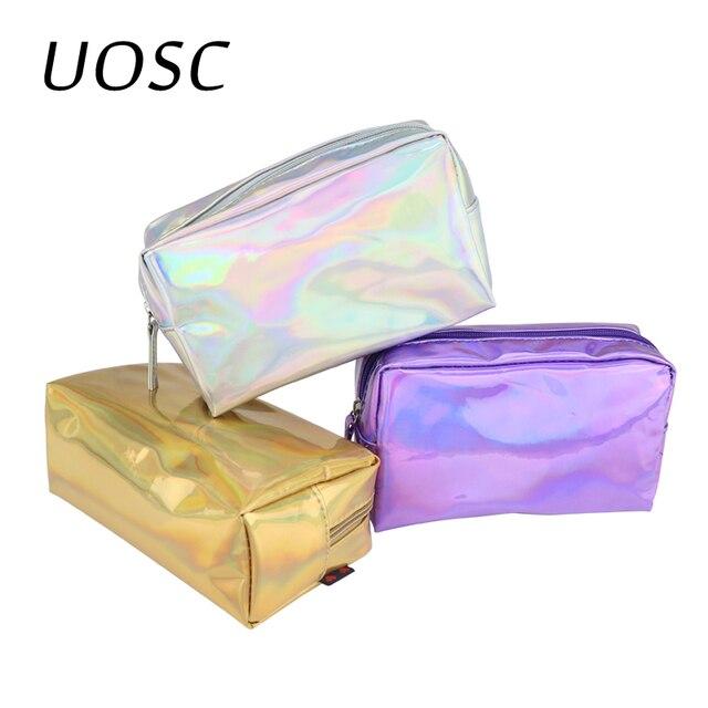 UOSC לייזר תיק קוסמטי אופנה הולוגרפית עיפרון מקרה קוסמטי איפור פאוץ לייזר רוכסן ארנק תיק תיקי קוסמטיקה
