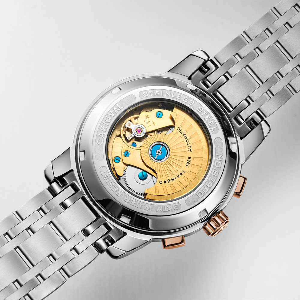 T25 Тритий газ светящиеся механические часы для мужчин карнавал полная сталь многофункциональные автоматические наручные часы Мужские часы reloj hombre - 4
