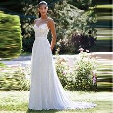 Princess Boho Simple Cheap Chiffon A Line Wedding Dress Appliqued Top Spaghetti Straps Train Bridal Gown Free Shipping