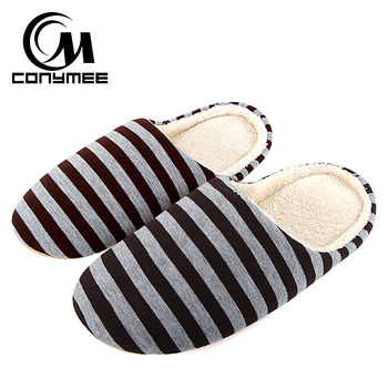 CONYMEE Men Casual Shoes Home Indoor Slippers Striped Soft Plush Male House Bedroom Slippers Warm Winter Cotton Slippers Shoes 1