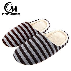 Conymee الرجال احذية عادية لل الرئيسية النعال الشتاء مخطط لينة الطابق رجل الشقق الأحذية الدافئة أفخم القطن النعال داخلي terlik