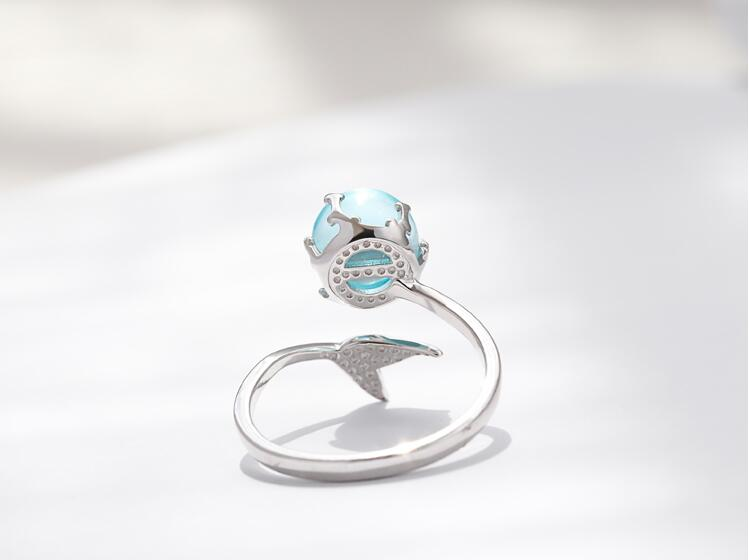 925 Sterling Silver Blue Crystal Mermaid Bubble Open Rings For Women Wedding Birthday Creative Fashion Jewelry jz137 5