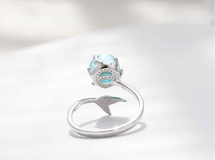 925 Sterling Silver Blue Mermaid ฟองเปิดแหวนสำหรับงานแต่งงานวันเกิดของขวัญแฟชั่นสร้างสรรค์เครื่องประดับ jz137