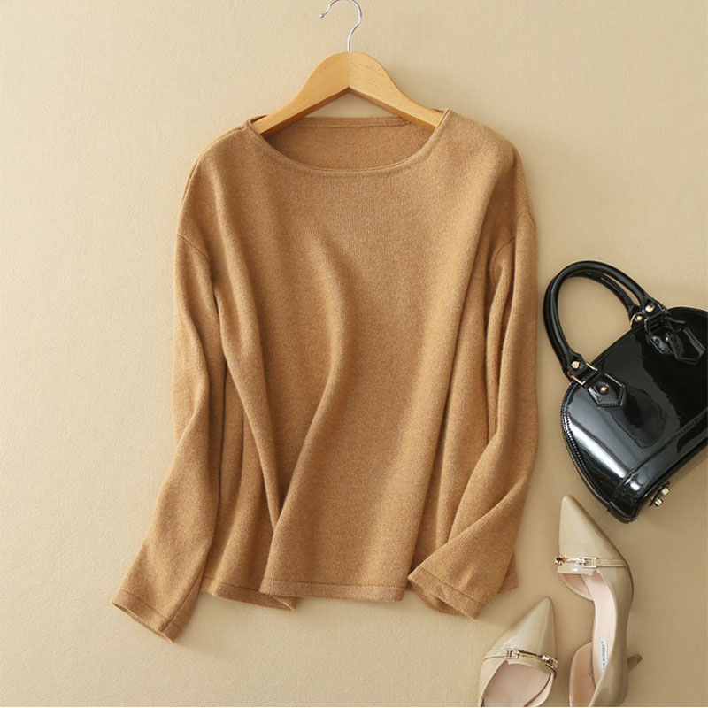 Women's Sweater Pullover 100% Genuine Goat Cashmere Women Sweaters And Pullovers Knit Thick Sweaters With O-neck Long Sleeves