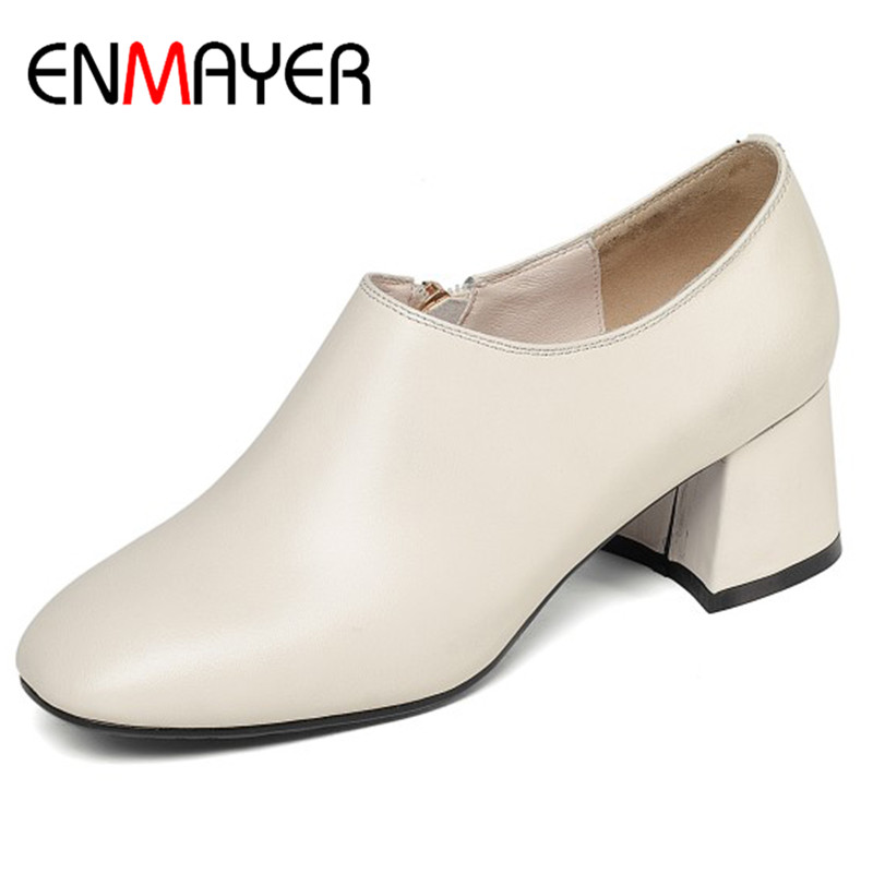 ENMAYER High Heels Shoes Woman Round Toe Pumps Plus Size 34-41 Beige Black Shoes Office Ladies Genuine Leather Shoe Zippers цена 2017