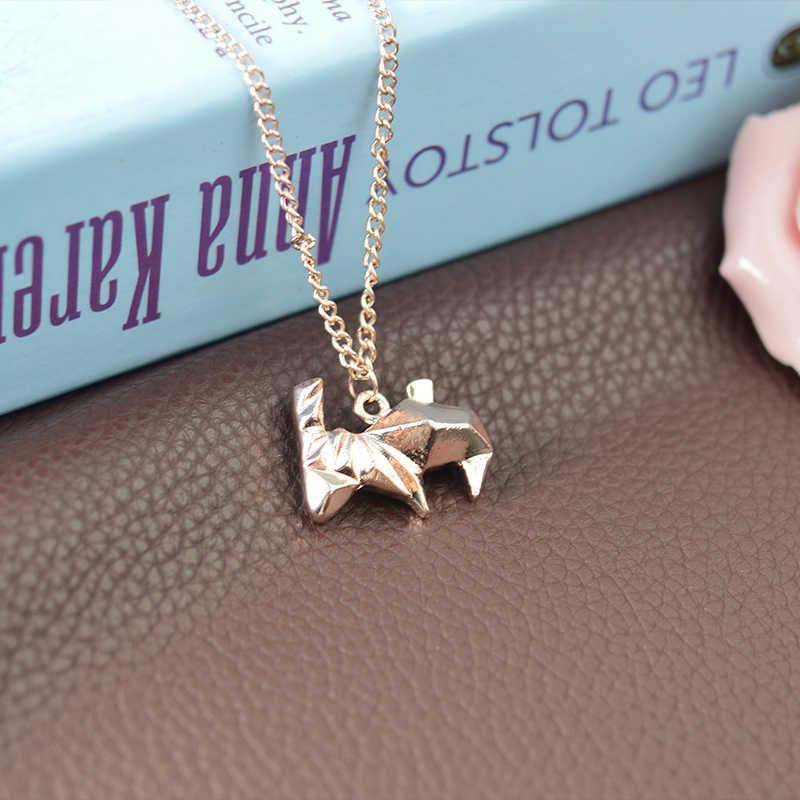 Minimalis Origami Kelinci Liontin Kalung Untuk Wanita Sweater Rantai Perak Kreatif Hadiah Untuk Pria Teman Pet Animal Jewelry