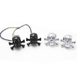 Image 3 - Universal motorcycle LED Skull Turn Signal Indicators Light Blinker Light Motorbike Lamp Street Flasher Moto Bike lamps
