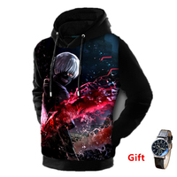 Watch as Gift Tokyo ghoul 3D men women pullover hoodies sweatshirt plus size anime hip hop hooded warm jacket coat tracksuits