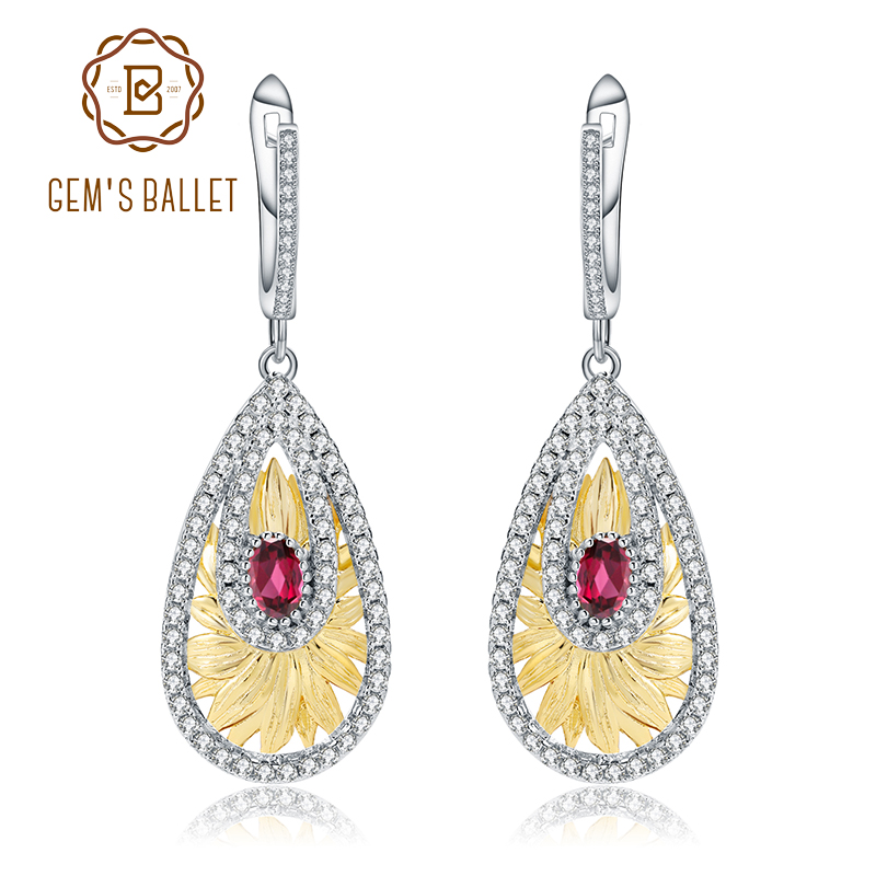 GEM S BALLET 1 20Ct Natural Rhodolite Garnet Sunflower Drop Earrings for Women Wedding 925 Sterling