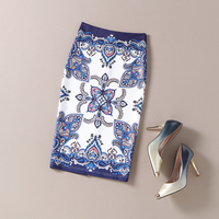 Spring Summer Europe And America Style Women Fashion Printting Floral Knee Length Empire Pencil Skirt Ladies