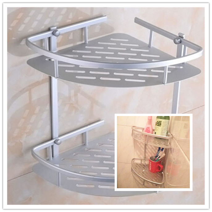 Aliexpress Hot Two Layer Wall Mounted Bathroom Rack Towel Washing Shower Basket Bar Shelf Accessories Shampoo Holder From Reliable
