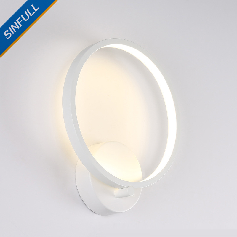 Creative Simple Modern Led Wall Lamp Bedroom Bedside Round Wall Light Hotel Aisle Corridor Sconce Indoor Home Lighting Wholesale brief modern single head wall lamp indoor use porch light sconce corridor bedroom bedside lamp 220 e27 ceramic lamp shade