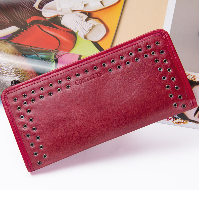 Image 5 - Contacts Luxury Brand Women Wallets Genuine Leather 2020 New Long Design Ladies Purse Clutch Bag Card Cell Phone Holder Walletbrand women walletdesigner women walletwomen brand wallet -