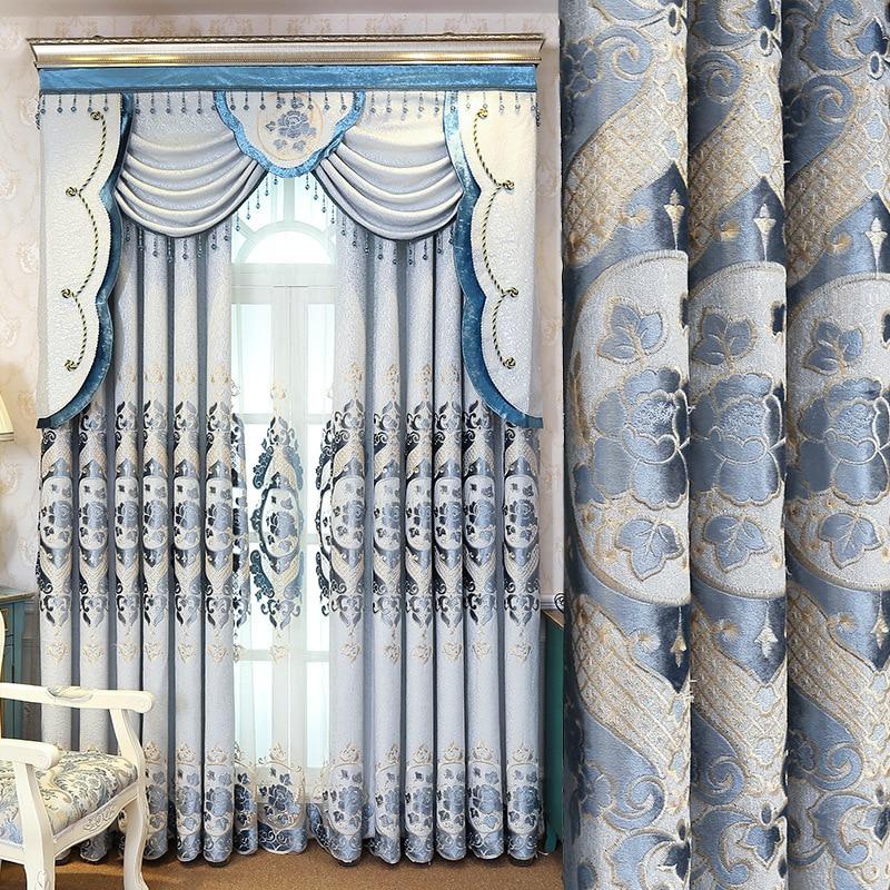 Luksuzno življenje Evropa Vezene Valance zavese za dnevno sobo okno - Domači tekstil