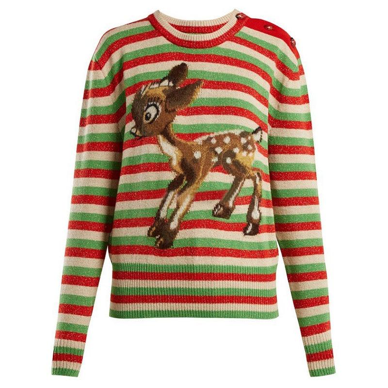 Winter Rainbow Striped Christmas Sweater with Deer Retro