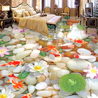 Custom 3D Floor Murals HD Cobblestone Lotus Carp Floor Tiles Painting Bedroom Living Room PVC Waterproof
