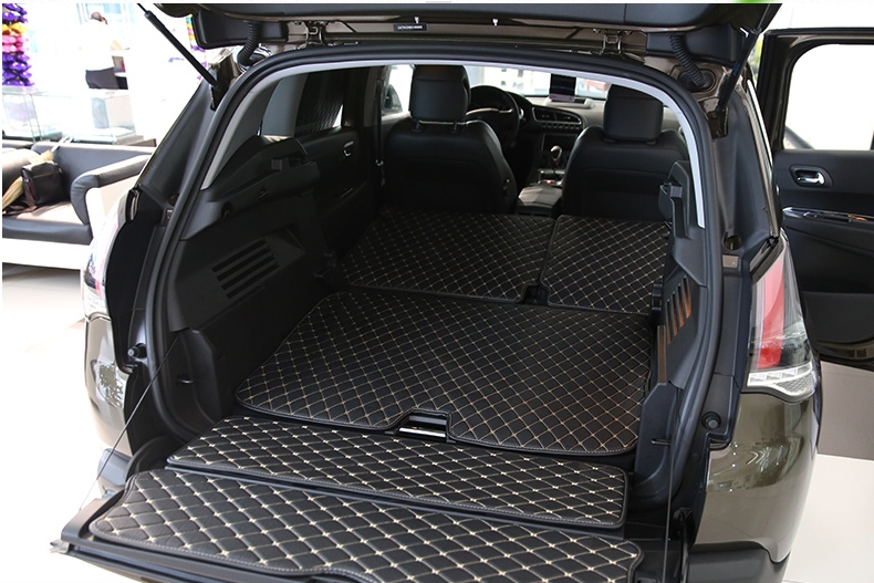 Customized full covered car trunk mats for Peugeot 3008 waterproof durable boot carpets cargo liner rugs