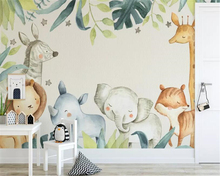 beibehang Custom wallpaper modern cartoon animal tropical giraffe watercolor plant Childrens room background wall 3d