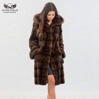 Tatyana New Arrive Mink Fur Long Coat Full Pelt Mink Fur Jackets With Hood Genuine Leather Coats Fashion Overcoat Top Quality
