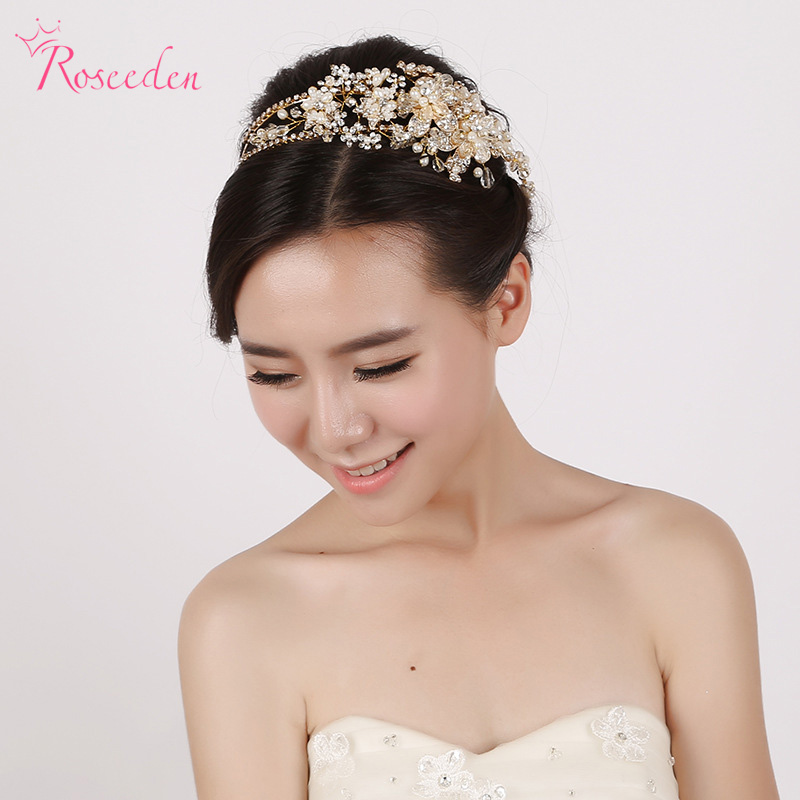 New Luxury Handmade Europe Style Bridal Gold Tiaras and Crowns Beautiful Drilling Flowers Simulated Pearl Head PieceRE284