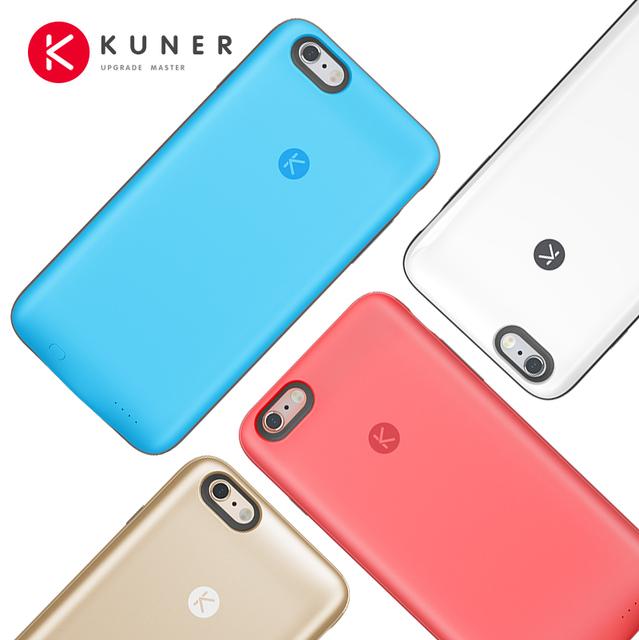Kuner colorido 2400 mah recarregável bateria externa backup carregador caso power bank se encaixa para apple iphone 6/6 s 4.7 polegada hu811