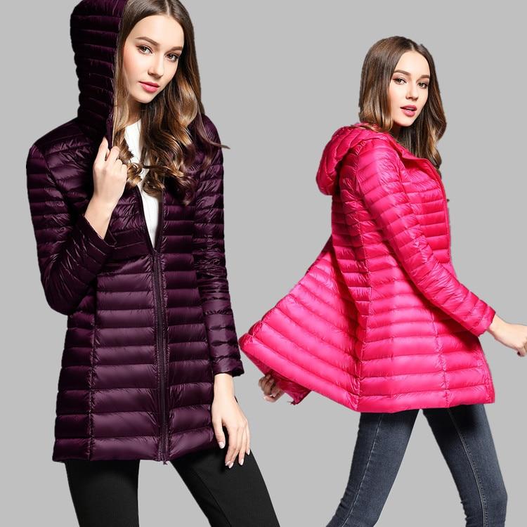 90% White Duck   Down     Coat   Women Ultra Light   Down   Jackets 2017 winter New Women Long   Down     Coat   Parka with Hood