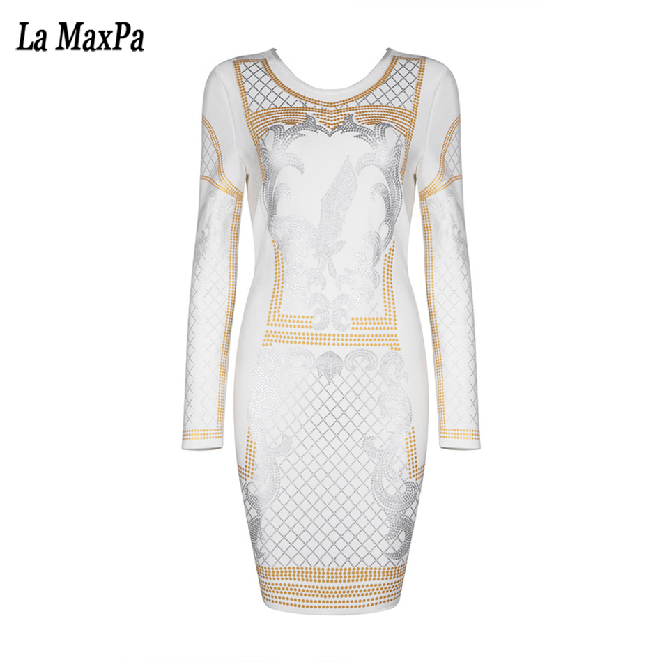 Robes White Femmes Robe Géométrique De Nouveau Moulante Longues Sexy Cou À Op Party Automne Blanc Soirée 2017 Manches Bandage EZTwtq