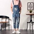 Mens Peto Moda Altura Del Tobillo Overol de Mezclilla de Los Hombres Ripped Jeans Denim Hombre Mono