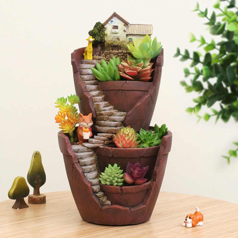 1 Piece Hot Sale Resin Flower Pot Succulent Plants Pot Garden