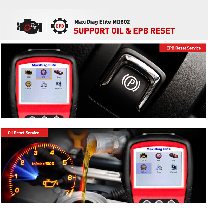 Image 3 - AUTEL MaxiDiag Elite MD802 All system car detector OBDII code reader scanner for EPB Oil reset OBD2 diagnostic tool PK MD805