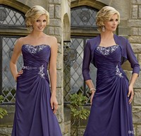 Simple Elegant Dark Purple Mother Bride Dress With Jacket Long Chiffon Evening Formal Women Dress