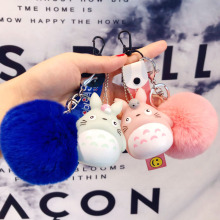 Cartoon Japan Anime Rabbit Fur Pom Pom Totoro Keychain Fur Ball Pompoms Key Ring Car Purse Bag Pendant Key Chains Gifts Trinket цена и фото