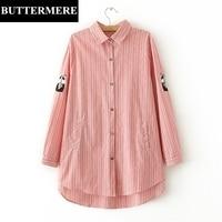 BUTTERMERE Striped Women Blosue Large Size 3XL Cat Embroidery Shirt Autumn Spring Long Pockets Asymmetrical Plus