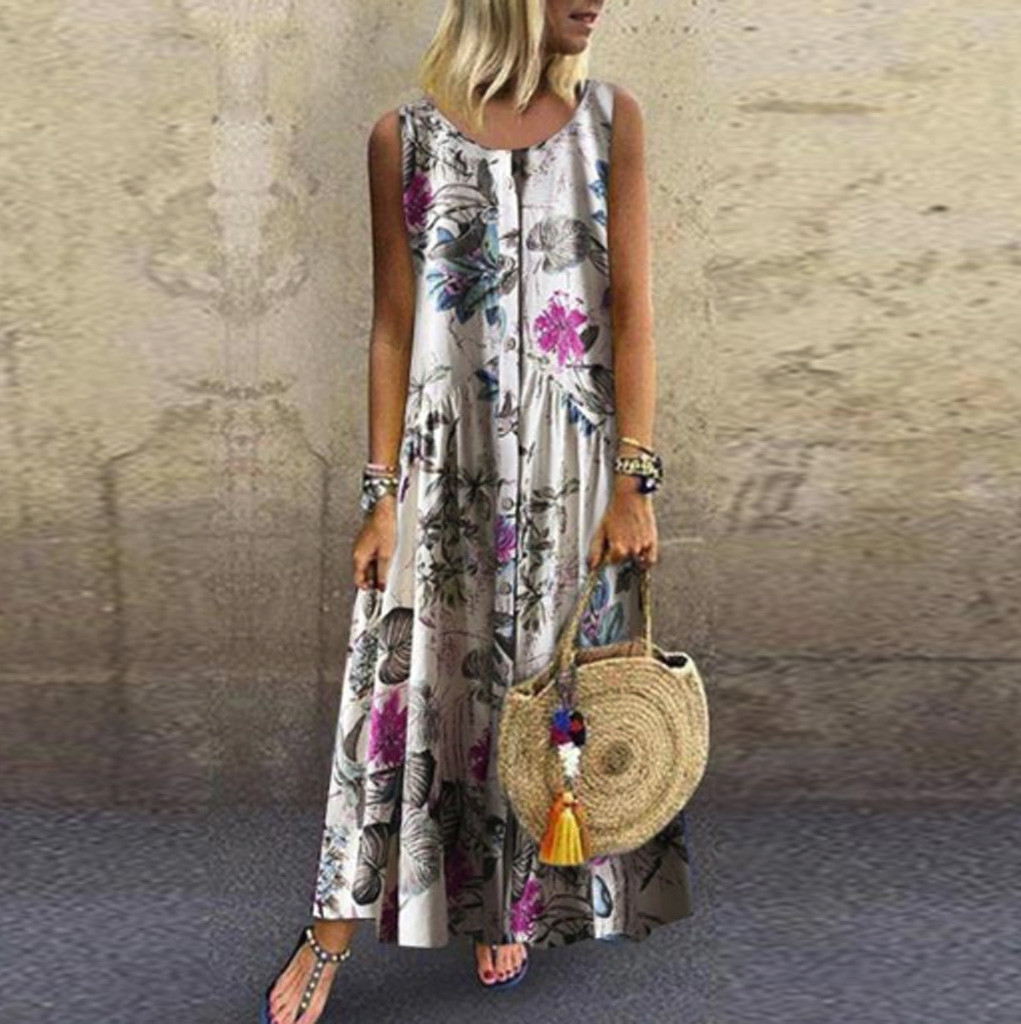 Summer Dress Women Plus Size Bohemian O-Neck Floral Print Vintage Sleeveless Long Maxi Dress Casual Loose O-Neck Dress*