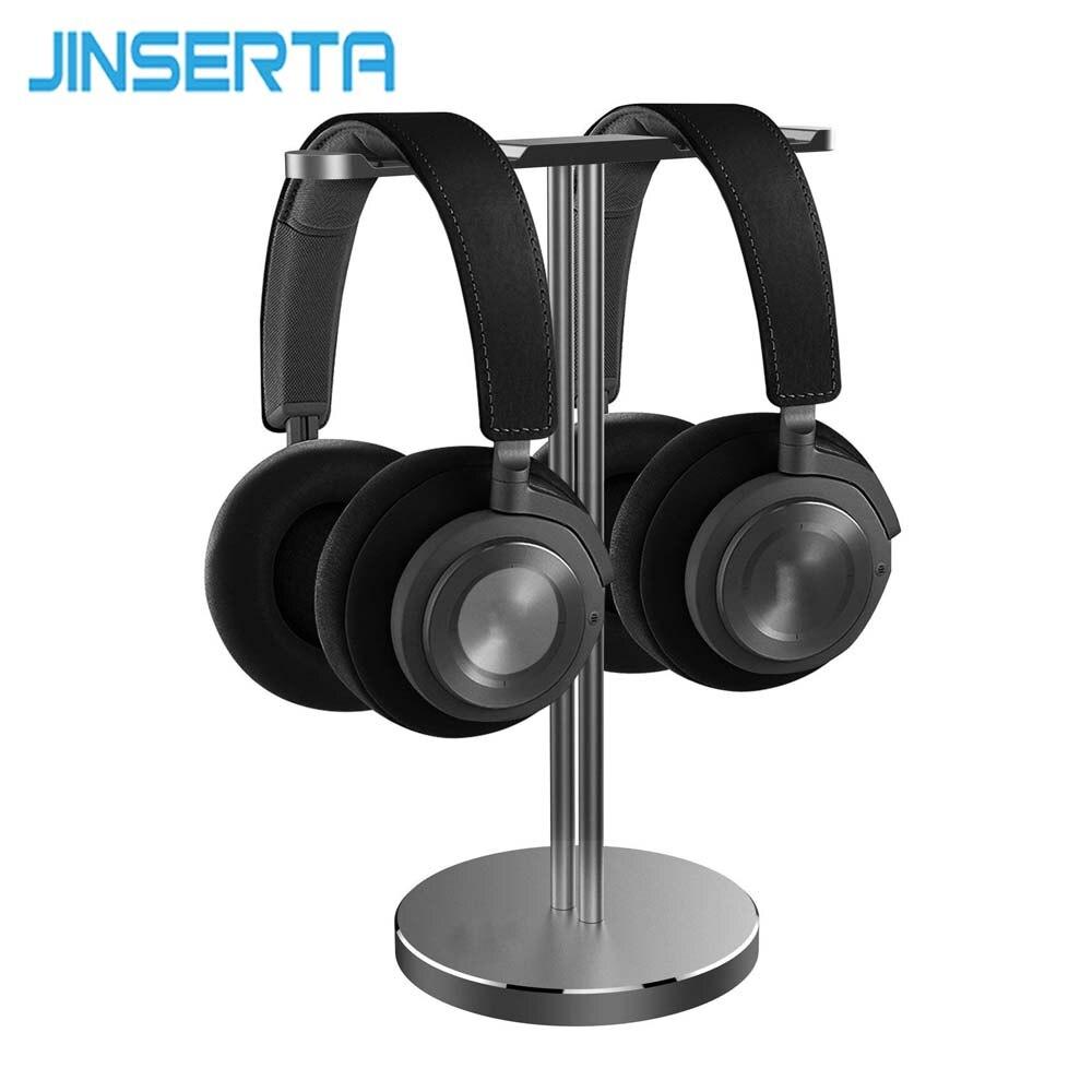 цена на JINSERTA Aluminum Headphone Holder Stand Dual Hanger Holder Earphone Desk Display Rack Bracket for Game Headphones