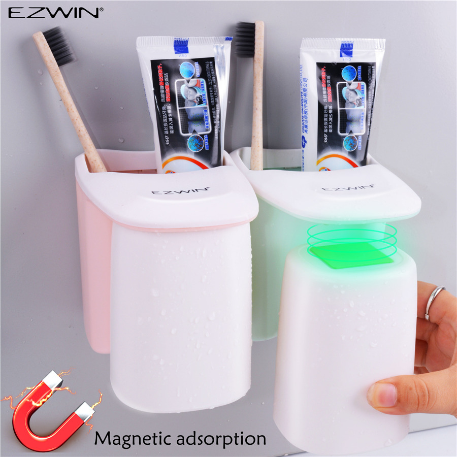 Washroom Products: EZWIN Magnetic Attraction Toothbrush Holder Cup Toothpaste