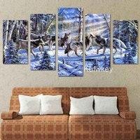 5D DIY Diamond Painting 5pcs Snow Wolf Winter Art Full Square Diamond Embroidery Stitch Cross Mosaic
