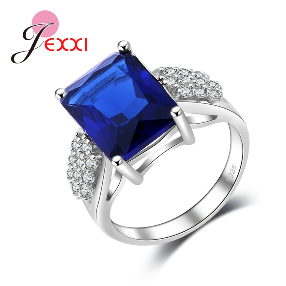 JEXXI Hot Selling Luxury Cubic Zirconia Engagement Rings Men S925 Sterling Silver Jewelry Full Zirconia Crystal Birthday Stone