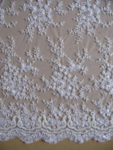 1yard lates french beaded lace fabric wedding pearl beads for French lace fabric for wedding dresses