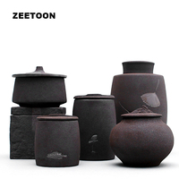 Black Zen Japanese Style Coarse Pottery Tea Cans Kung Fu Tea Set Tea Caddy Jar Pot Sugar Bowl Tea Sealed Creative Home Decor New