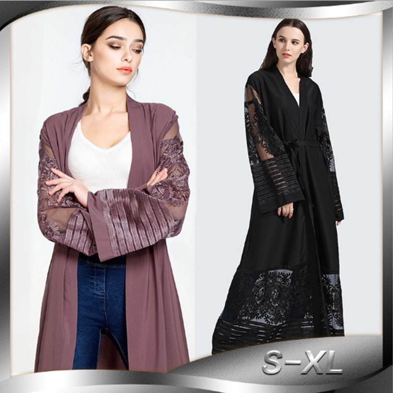 Muslim Abaya Lace Maxi Dress Hollow Out Embroidery Cardigan Long Robe Tunic Worship Service Middle East Islamic Prayer Clothing