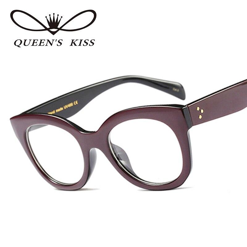 QUEENS KISS Fashion Women Cat\'s Eye Glasses Frame Brand Designer ...