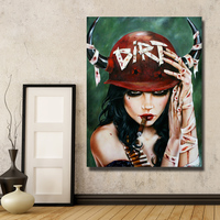 Reproduction Dirtyland Smoking Red Lip Sexy Girl Large Canvas Art Wall Pictures for Home Decoration Hot Sale No framed