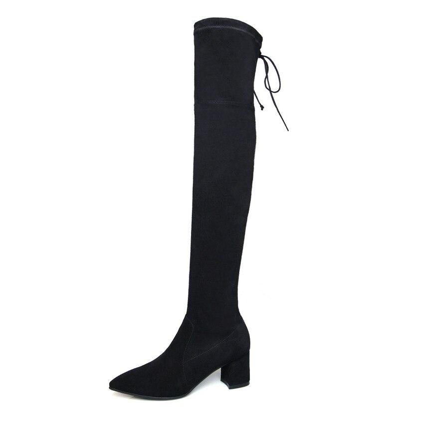 Qutaa Bout Pointu Genou Black Sur Bottes 2019 Femmes Vache De Haut Moto Cow Le Chaussures Grand Les Hiver Leather Suede Match 34 black Tous Taille 39 Suède O6rAwO