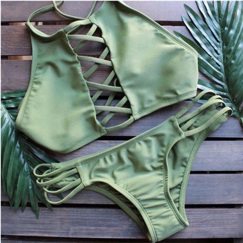 Women Bandage Bikini Set Push-up Padded Bra Bathing Suit High Quality Halter Swimsuit Swimwear