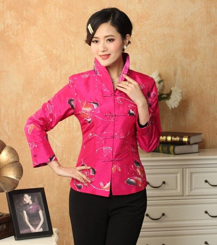 Recién llegado de las rosas tradicional mujeres chinas de bordado chaqueta escud